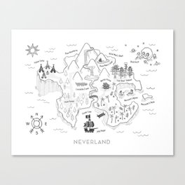 Neverland Map - B&W Canvas Print