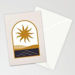 Mid Century Magic Minimalist Mystic Egypt Sun Over Nile River Window Frame Graphic Design Stationery Cards