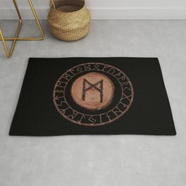 Mannaz - Wooden Celtic Rune of self, individuals, universe, family, loved ones, friends, devoted Rug