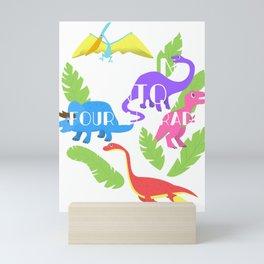 Roaring Into 4th Grade - Fourth Grader Dinosaur School Tee Mini Art Print