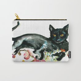 Coffee, Orchid and Black Cat Vintage Style Large Format XXL Carry-All Pouch