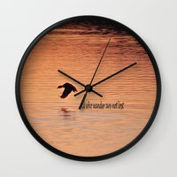 not all who wander Wall Clocks featuring Wander by Nonna Originals