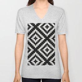 Urban Tribal Pattern No.17 - Aztec - Black and White Concrete Unisex V-Neck