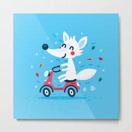 White Fox Riding Vespa Metal Print