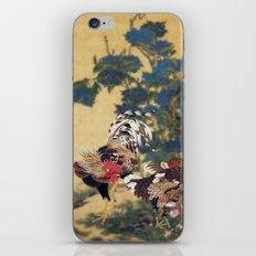 Rooster and Hen with Hydrangeas. iPhone Skin
