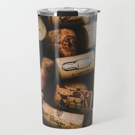 A collection of Wine Corks Photo Travel Mug