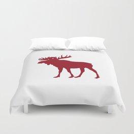 Moose: Rustic Red Duvet Cover