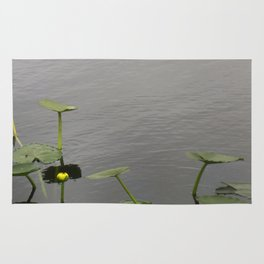 Water Lily Bloom with Lily Pads Rug