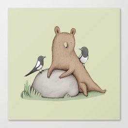 Bear & Birds Canvas Print