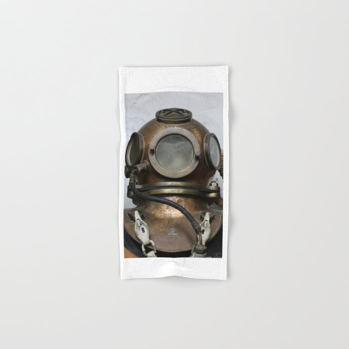 Antique vintage metal underwater diving helmet Hand & Bath Towel