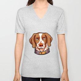 Brittany Dog Puppy Doggie Present Cartoon Unisex V-Neck