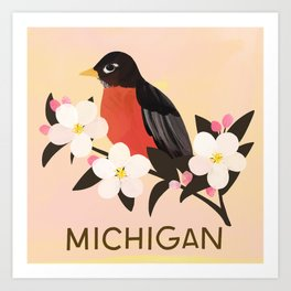 Michigan State Bird and Flower Art Print