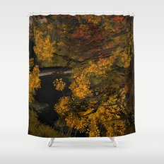 Autumn Leaves and Stream Shower Curtain