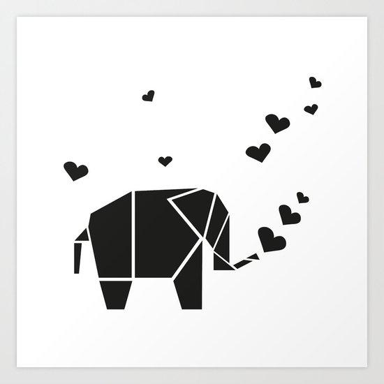 Origami Elephant - White Art Print