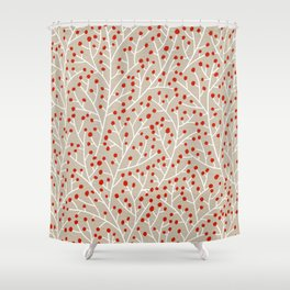 Red & White Berry Branches Shower Curtain