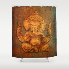 Lord Ganesh On a Distress Stone Background Shower Curtain