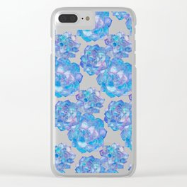 Rosette Succulents – Blue Palette Clear iPhone Case