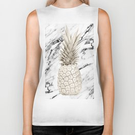 Pineapple Marble White Gold Painted Pineapple on Black and White Marble Biker Tank