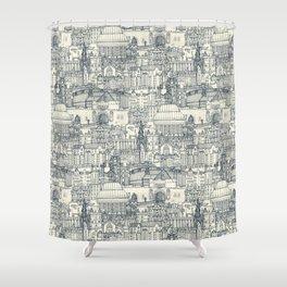 Edinburgh toile indigo pearl Shower Curtain