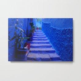 Blue Moroccan Staircase Metal Print