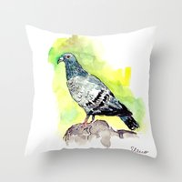 pigeon Throw Pillows featuring Pigeon by Elena Sandovici