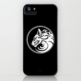 White and Black Growling Wolf Disc iPhone Case