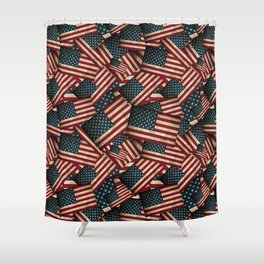 Patriotic Grunge Style American Flag Shower Curtain