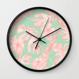 Tropical Palm Leaves Hibiscus Pink Mint Green Wall Clock