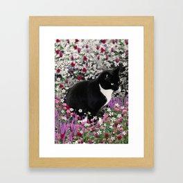 Freckles in Flowers II - Tuxedo Kitty Cat Framed Art Print