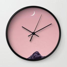 Austria, pink sunset moon mountain Wall Clock