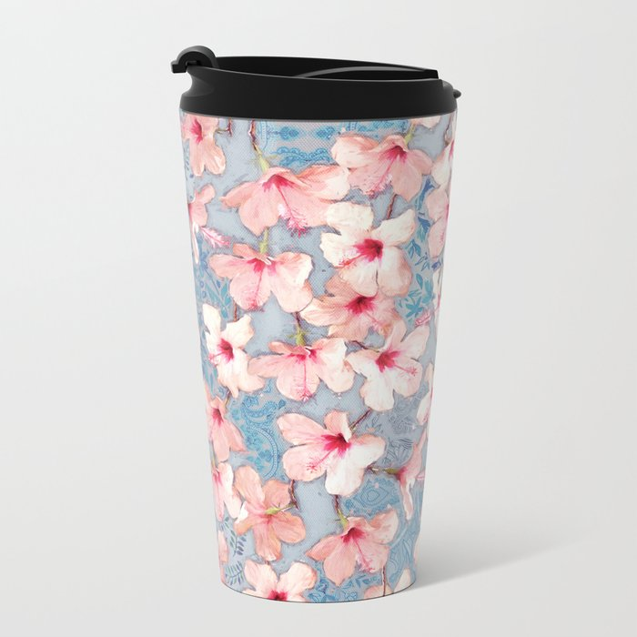 Shabby Chic Hibiscus Patchwork Pattern in Pink & Blue Metal Travel Mug