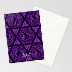 Kagome Greek Fret ... Purple Stationery Cards