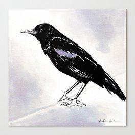 Black Raven Wine Painting Canvas Print