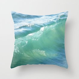 Teal Surf Throw Pillow