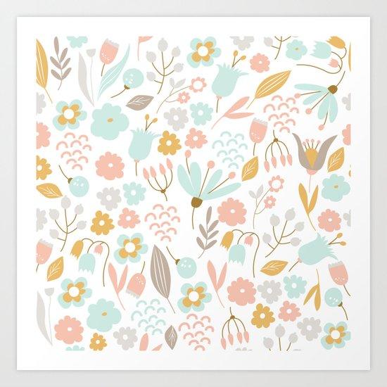 Cute flower pattern Art Print