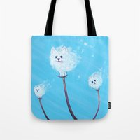 pomeranian Tote Bags featuring Pomeranian Dandelions by Kate Oberg