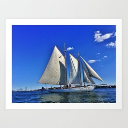 Sailboat and Bug Light in Casco Bay, Maine Art Print