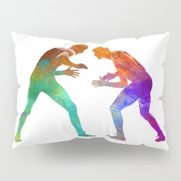 Wrestlers wrestling men 01 in watercolor Pillow Sham