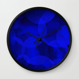 Abstract soap of ultramarine molecules and transparent bubbles on a deep blue background. Wall Clock