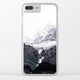 Moody snow capped Mountain Peaks - Nature Photography Clear iPhone Case