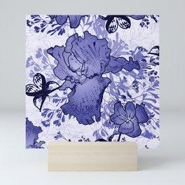 BIue Iris Pansy Butterflies Mini Art Print