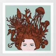 HAIR IN WATER Art Print
