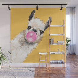 Bubble Gum Sneaky Llama in Yellow Wall Mural