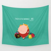 cartoons Wall Tapestries featuring mamaO - shopaholic! by Michael Tjandra