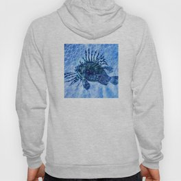 Lion Fish Abstract in Blue Bubbly Ocean Hoody