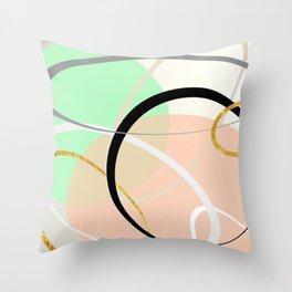 Random Shapes - Pastel & Gold Metallic Throw Pillow