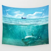 kpop Wall Tapestries featuring Blue by SensualPatterns