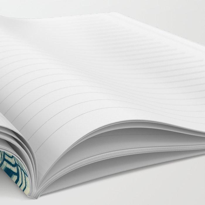 Emerald Green, Navy & Cream Floral & Leaf doodle Notebook
