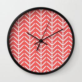 Red and white herringbone pattern Wall Clock