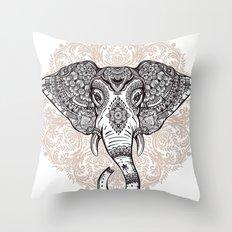 Elephant on Mandala Throw Pillow